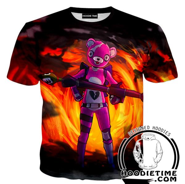 Fortnite Pink Bear T-Shirt - Fire Fortnite Shirts Game Clothing-Hoodie Time - Anime and Gaming Hoodies
