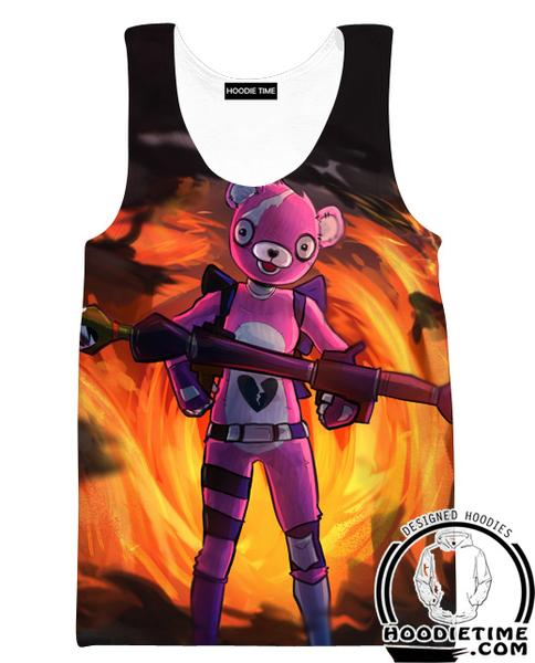 Fortnite Pink Bear Tank Top - Fire Fortnite Gym Shirts Game Clothing-Hoodie Time - Anime and Gaming Hoodies