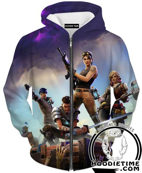 Fortnite Zip Hoodie - Battle Royal Zip Hoodies Gaming Clothing-Hoodie Time - Anime and Gaming Hoodies