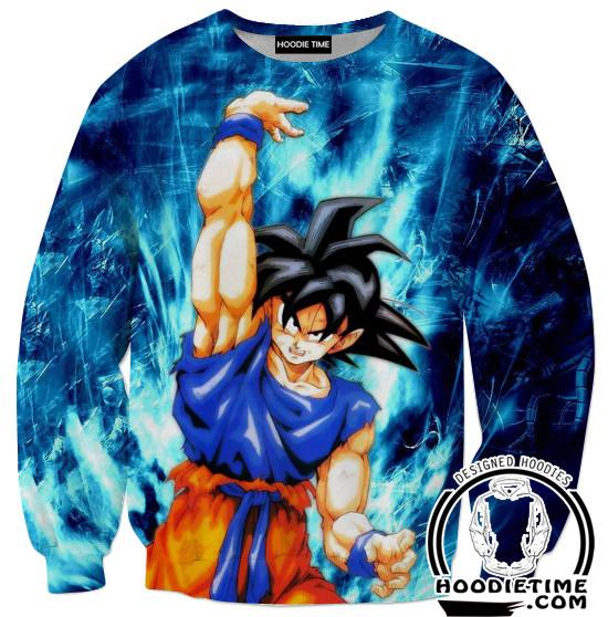 Genki Dama Spirit Bomb Goku Sweatshirt - Dragon Ball Z Sweaters Full Printed Clothing-Hoodie Time - Anime and Gaming Hoodies