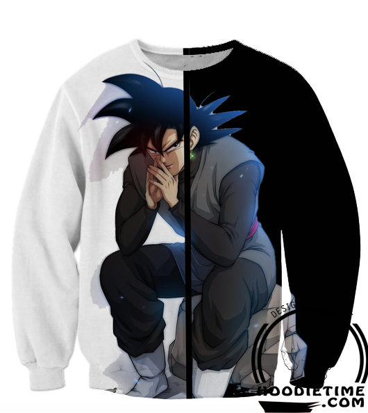 Goku Black Sitting Sweatshirt - Dragon Ball Super Z Sweaters - DBZ 360 Clothing-Hoodie Time - Anime and Gaming Hoodies