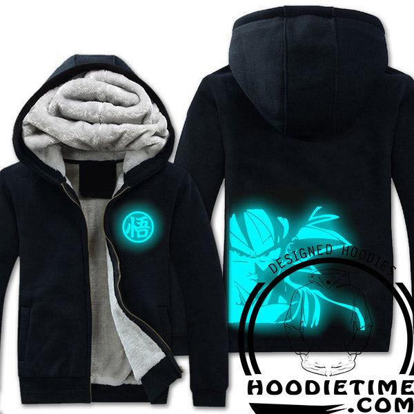 Dragon Ball Z - Serious Goku - Glow in the dark Zip-up Black Hoodie-Hoodie Time - Anime and Gaming Hoodies