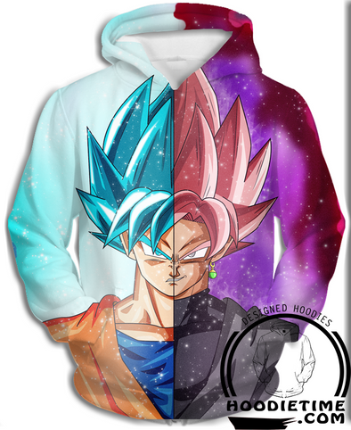Super Saiyan Blue and Black Goku Hoodie Dragon Ball Z DBZ