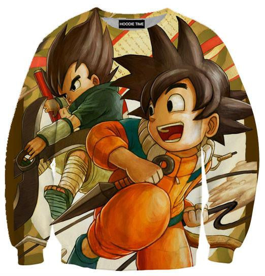 Dragon Ball Z and Naruto Sweaters - Goku and Vegeta Cross Naruto and Sasuke Sweatshirt - DBZ Full Printed Clothing-Hoodie Time - Anime and Gaming Hoodies