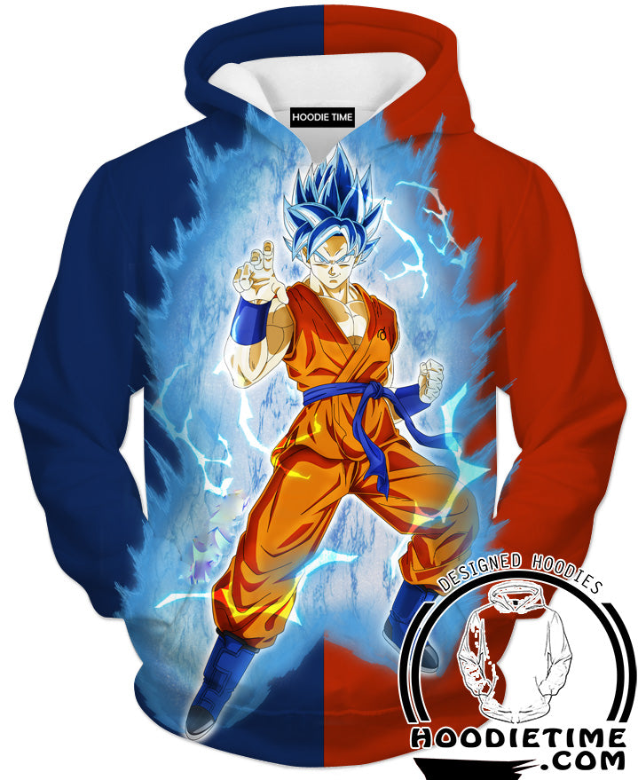 Super Saiyan Blue Goku Whis Hoodie - Dragon Ball Z Hoodies Full Printed Clothing-Hoodie Time - Anime and Gaming Hoodies