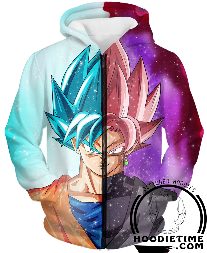 Dragon Ball Super Z - Super Saiyan Rose Black Goku And Super Saiyan Blue - Zip-Up 3D Hoodie-Hoodie Time - Anime and Gaming Hoodies