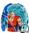Dragon Ball Super Z - Super Saiyan 3 Blue God Goku - 3D Pullover Hoodie-Hoodie Time - Anime and Gaming Hoodies