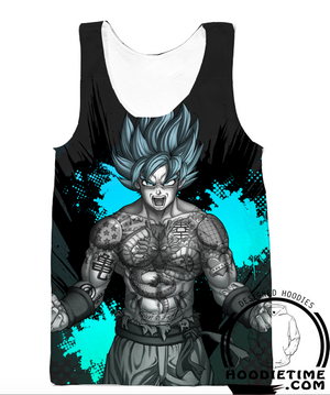 Dragon Ball Super Z - Super Saiyan Blue Tattoo Goku Hoodie - Pullover 3D hoodie-Hoodie Time - Anime and Gaming Hoodies