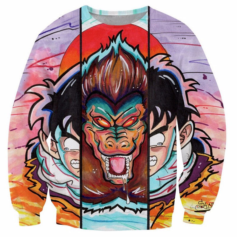 Dragon Ball Z - Great Ape Kid Gohan Retro Style - 3D Sweatshirt-Hoodie Time - Anime and Gaming Hoodies