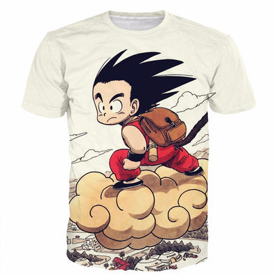 kid goku riding nimbus t-shirt shirts dbz dragon ball z