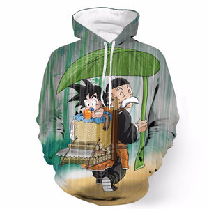Dragon Ball Z - Grandpa Gohan and Kid Goku - Pullover 3D Hoodie-Hoodie Time - Anime and Gaming Hoodies