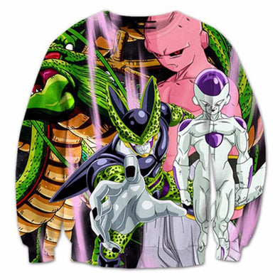 Dragon Ball Z - Villians - Cell, Frieza, Kid Buu - Sweatshirt-Hoodie Time - Anime and Gaming Hoodies