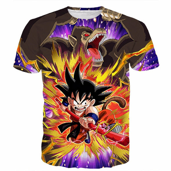 Dragon Ball Z - Kid Goku with Great Ape Oozaru T-Shirt - 3D Clothing-Hoodie Time - Anime and Gaming Hoodies