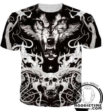Insane Wolf Skull T-Shirt - 3D Shirts and Clothing-Hoodie Time - Anime and Gaming Hoodies
