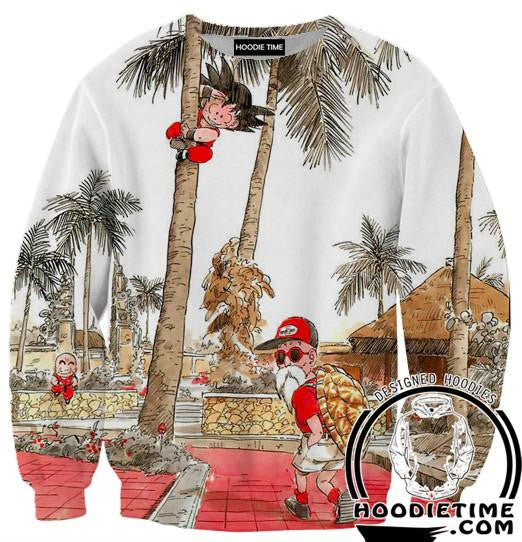 Kid Goku and Master Roshi Sweatshirt - Dragon Ball Z Sweaters Full Printed Clothing-Hoodie Time - Anime and Gaming Hoodies