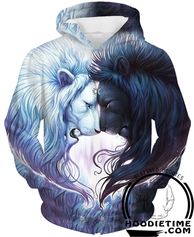 Yin and Yang Loving Lions Hoodie - 3D Pullover Hoodies and Clothing-Hoodie Time - Anime and Gaming Hoodies