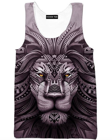 Lion Zion Tank Top - 360 Printed Gym Shirt-Hoodie Time - Anime and Gaming Hoodies