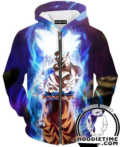 MUI Mastered Ultra Instincts Goku Zip Hoodie - Dragon Ball Super Zip Hoodies Clothing-Hoodie Time - Anime and Gaming Hoodies