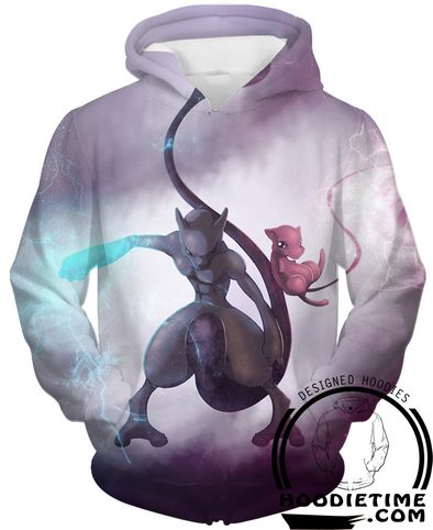 Pokemon - Mew and Mewtwo Hoodie - Pullover 3D Hoodie-Hoodie Time - Anime and Gaming Hoodies