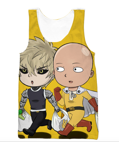 One Punch Man - Cute Saitama and Genos Tank Top - 3D Gym Shirts-Hoodie Time - Anime and Gaming Hoodies