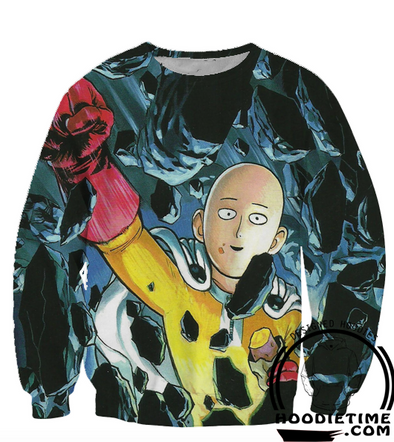 One Punch Man - Funny Saitama Punches Sweatshirt - 3D Pullover Sweaters-Hoodie Time - Anime and Gaming Hoodies