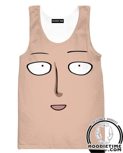 One Punch Man Gym Shirts - Saitama Face Tank Top - Anime Clothing-Hoodie Time - Anime and Gaming Hoodies