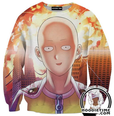 One Punch Man Sweaters - Excited Saitama Sweatshirt - Anime Clothing-Hoodie Time - Anime and Gaming Hoodies