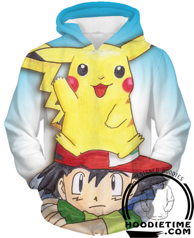 Pokemon - Ash and Pikachu Hoodie - Pullover 3D Hoodie-Hoodie Time - Anime and Gaming Hoodies