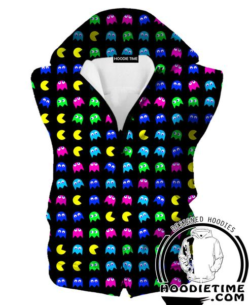 Pacman Hooded Tank - Pacman Ghost Hoodie - Video Game Clothes