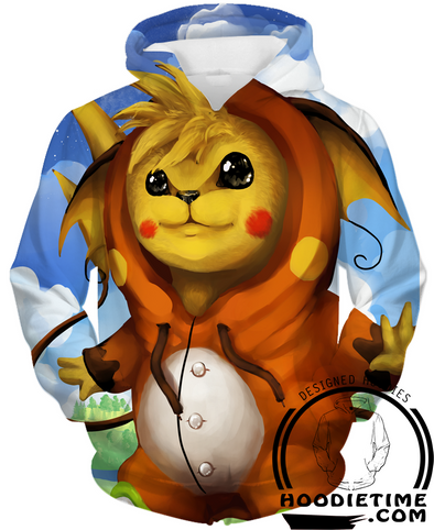 Pikachu Cosplaying Raichu Costume Hoodie pokemon hoodies funny cute