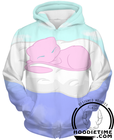 Pokemon - Cute Mew in the Cloud Hoodie - Pullover 3D Hoodie-Hoodie Time - Anime and Gaming Hoodies