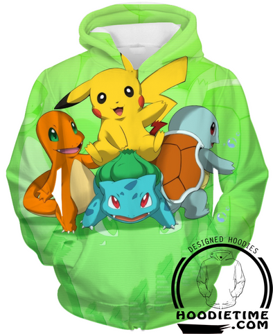 Pokemon - Pikachu, Charmander and Starting Pokemon Hoodie - Pullover 3D Hoodie-Hoodie Time - Anime and Gaming Hoodies
