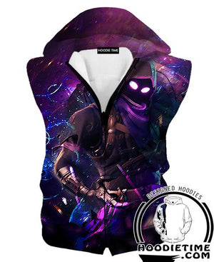 Raven Fortnite Hoodie - Raven Skin Hooded Tank - Fortnite Apparel-Hoodie Time - Anime and Gaming Hoodies