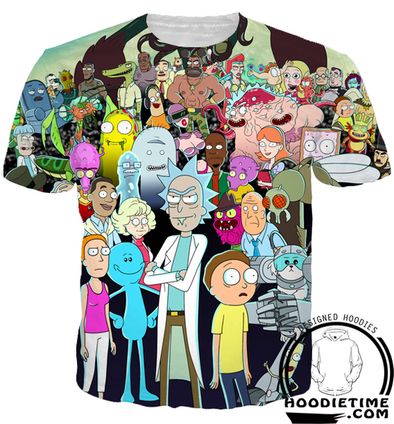 Rick and Morty All Character T-Shirt - Rick and Morty Shirts-Hoodie Time - Anime and Gaming Hoodies