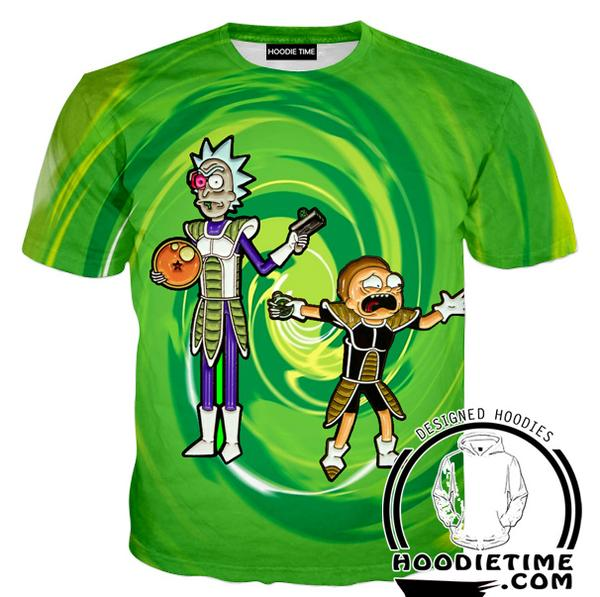 Rick and Morty Shirts - Dragon Ball Cross T-Shirt - Full Printed Clothing-Hoodie Time - Anime and Gaming Hoodies