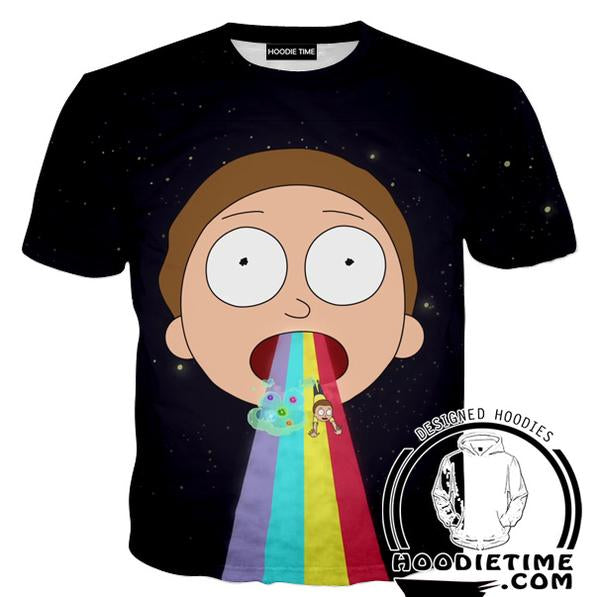 Rick and Morty Shirts - Morty Rainbow Puke T-Shirt - Full Printed Clothing-Hoodie Time - Anime and Gaming Hoodies