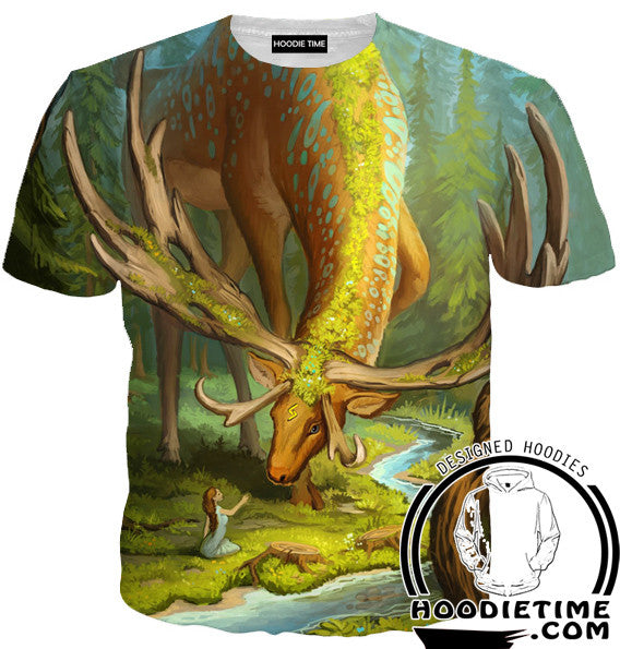 Elf and the Forest God Deer T-Shirt - Fantasy Shirts - 3D Clothing-Hoodie Time - Anime and Gaming Hoodies