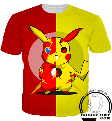 Pikachu and Flash Crossover t-shirt shirts pokemon 3d