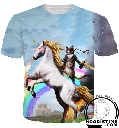 cat ride on a unicorn shirt funny