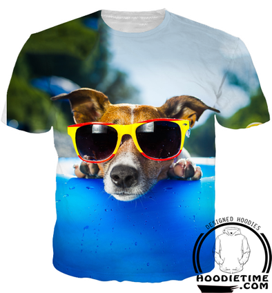 Beach Dog Sunglasses Shirt - Printed T-Shirts Clothing-Hoodie Time - Anime and Gaming Hoodies