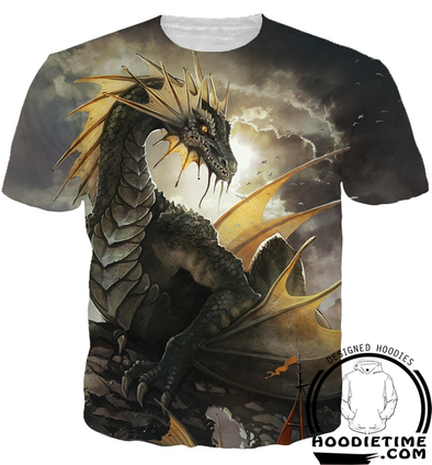 Green Dragon T-Shirt - Printed T-Shirts Fantasy Clothing-Hoodie Time - Anime and Gaming Hoodies