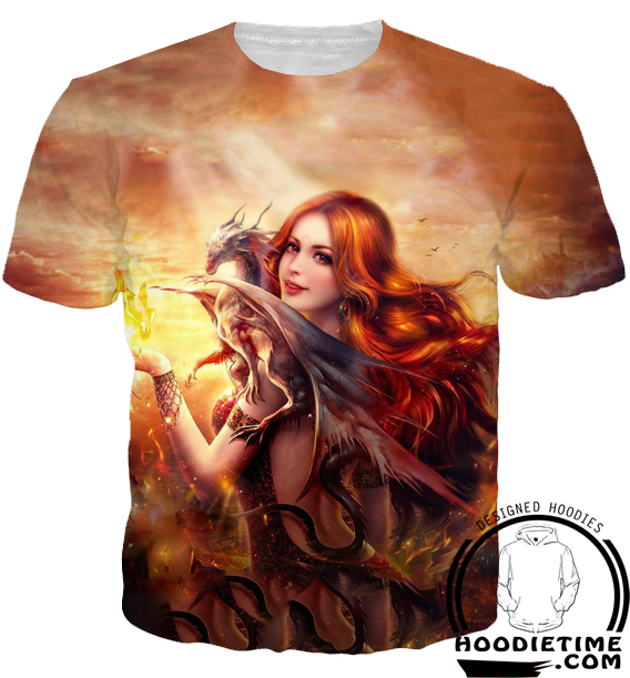 Dragon Girl Shirt - Printed T-Shirts Clothing - Fantasy Clothing-Hoodie Time - Anime and Gaming Hoodies
