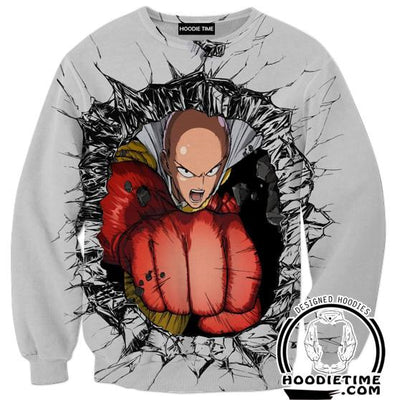 Saitama Punch Sweatshirt - One Punch Man Sweaters - Anime Clothing-Hoodie Time - Anime and Gaming Hoodies