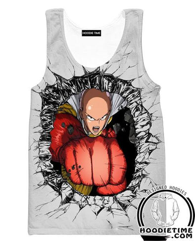Saitama Punch Tank Top - One Punch Man Gym Shirts - Anime Clothing-Hoodie Time - Anime and Gaming Hoodies