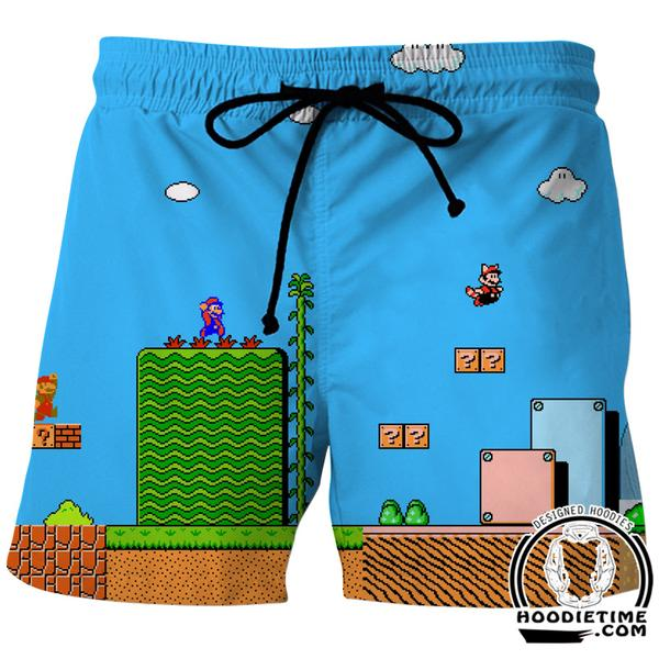 Super Mario Board shorts - Mario Level Swimming Trunks - Video Game Clothes