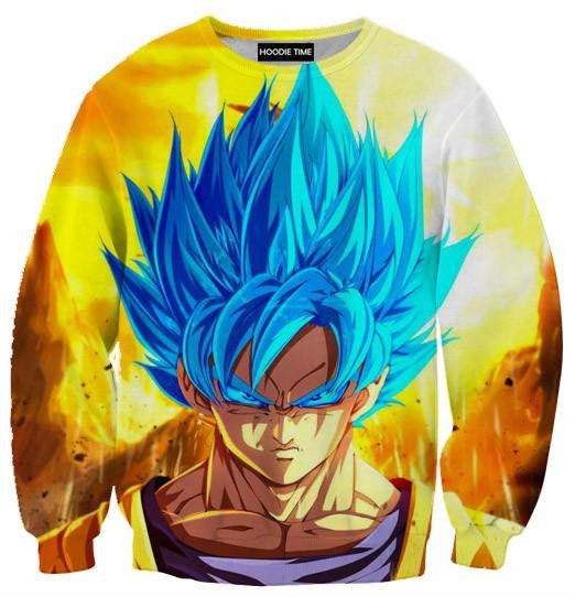 Dragon Ball Super Z Sweaters - Super Saiyan Blue God Goku Sweatshirt - DBZ 360 Clothing-Hoodie Time - Anime and Gaming Hoodies