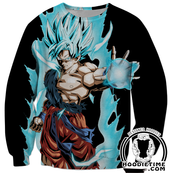 Super Saiyan Blue Goku Black Sweatshirt - Dragon Ball Z Sweaters Full Printed Clothing-Hoodie Time - Anime and Gaming Hoodies