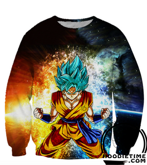 Dragon Ball Z Sweaters - Super Saiyan Blue Goku Sweatshirt SSB - 360 3D Clothing-Hoodie Time - Anime and Gaming Hoodies
