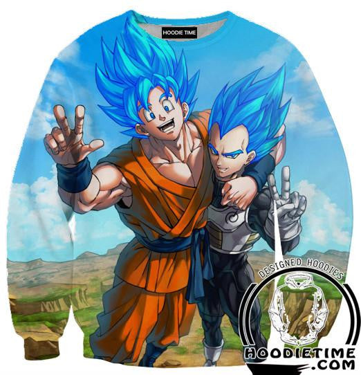 Super Saiyan Blue Vegeta and Goku Friends Sweatshirt - Dragon Ball Z Sweaters - 3D Printed DBZ Clothing-Hoodie Time - Anime and Gaming Hoodies