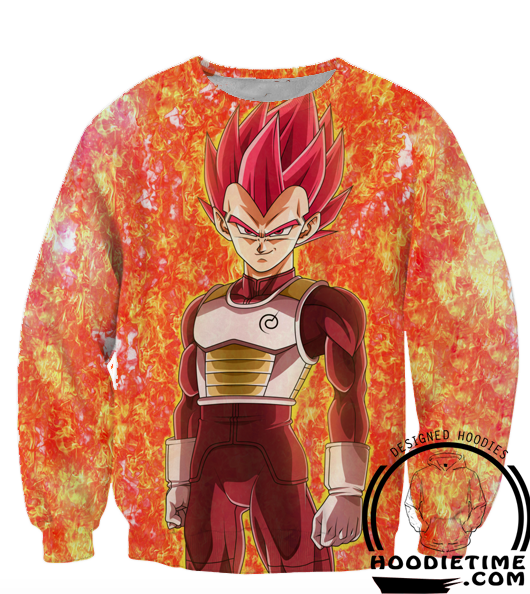 Dragon Ball Super Z Sweaters - Super Saiyan God Red Vegeta Sweatshirt - 360 3D Clothing-Hoodie Time - Anime and Gaming Hoodies
